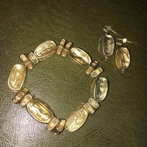 Chico's Gold Tone Nugget Bracelet/Earring Set
